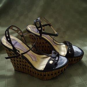 """HaleBob """"bamboo-look"""" wedge heels"""